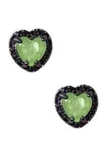 Brinco Infine Coração Verde Green Glow Fusion Com Zircônias Negras Pp