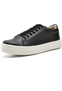 Tênis Casual Trivalle Shoes Preto Com Branco