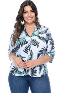 Camisa Prelúdio Plus Size Araucaria Floral