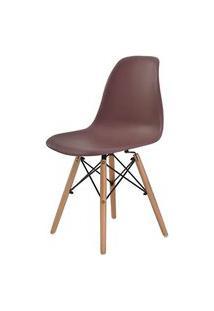Cadeira Eames Eiffel Polipropileno Cafe Base Madeira - 44159 Café