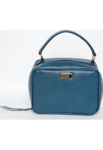 Bolsa Texturizada Em Couro Com Tag- Azul Escuro & Douraddi Marlys