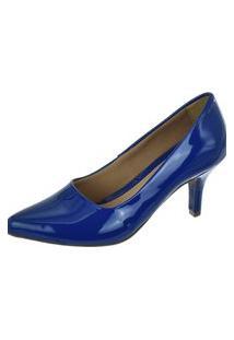 Scarpin Feminino Azul Marinho Verniz Salto Médio Bico Fino Macio Conforto