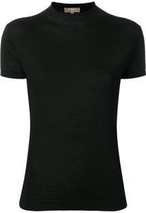 N.Peal Blusa De Tricô Com Gola Alta Ampla - Preto