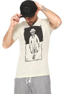 Camiseta Volcom Manga Curta Flip Out Off-White