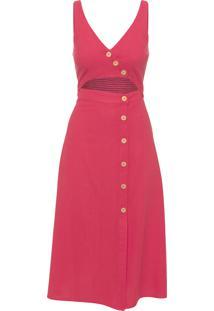 Vestido Midi Transpasse Botões - Vermelho