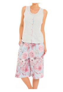 Pijama Capri Regata Floral Laibel (15.800730) Algodão