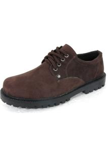 Sapato Social Camurça Fearnothi 160 Amarrado Marrom