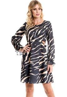 Vestido Bisô Estampado Feminino - Feminino-Preto