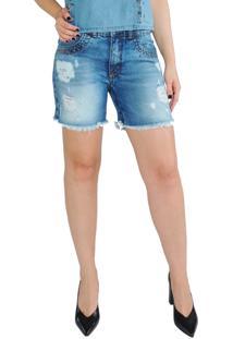 Bermuda Rosa Line Jeans Destroyed