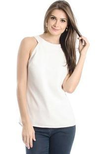 Blusa Decote Costas Calvin Klein Feminina - Feminino-Off White