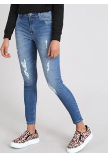 1341cb6cf CEA. Calça Jeans Feminina Sawary Cigarrete Com Rasgos Azul Médio