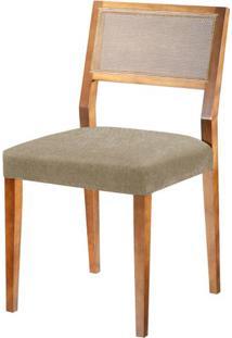 Cadeira Caiscais Assento Cor Bege Com Base Nogal - 46482 - Sun House