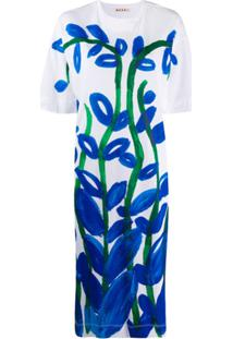 Marni Vestido Reto Com Estampa Floral - Branco