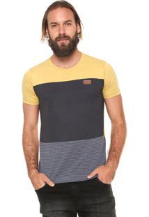 Camiseta Sideway Recortes Amarela/Cinza