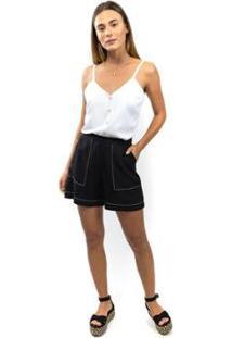 Blusa Combinação Com Botões - Feminino-Branco