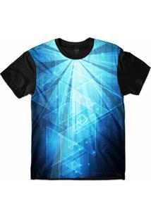 Camiseta Insane 10 Tecnologia Abstrata Triângulos E Números Sublimada Azul