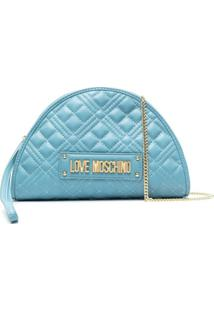 Love Moschino Bolsa Transversal Matelassê - Azul