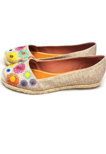 Alpargata Love Shoes Espadrille Bordado Floral Juta Bege