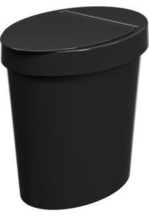 Lixeira Oval Glass 5 Litros Preto Coza