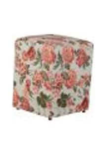 Puff Quadrado Cubo Jacguard Floral Rosa E Bege I
