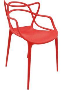Cadeira Com Encosto E Braços Aviv Siena Móveis Vermelho