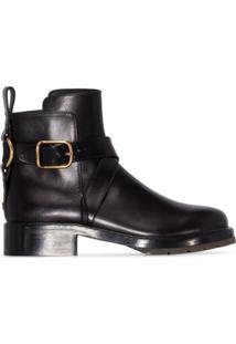 Chloé Ankle Boot De Couro Com Fivela - Preto