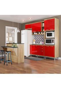 Cozinha Compacta Sem Tampo 12 Portas 5843 Argila/Vermelho - Multimóveis