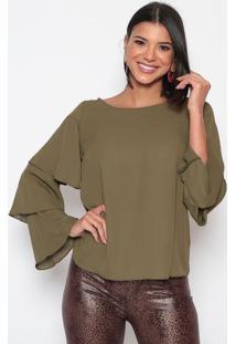 Blusa Lisa Com Babados - Verde - Moiselemoisele