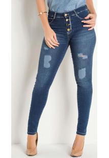 Calça Cigarrete Jeans Botões E Puídos Sawary