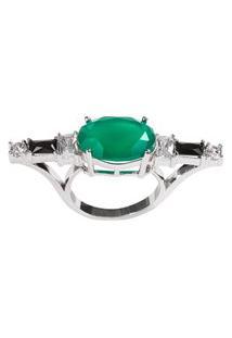 Anel Soco Inglês The Ring Boutique Pedra Cristal Verde Esmeralda Ródio Ouro Branco
