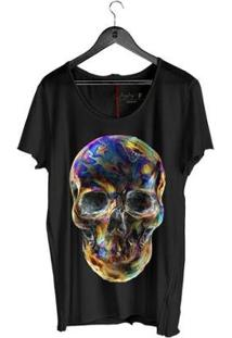 Camiseta Corte À Fio Joss Caveira Paraguaia Masculina - Masculino-Preto