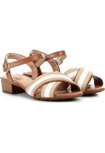 Sandália Modare Salto Baixo Tiras Cruzadas Feminina - Feminino-Caramelo