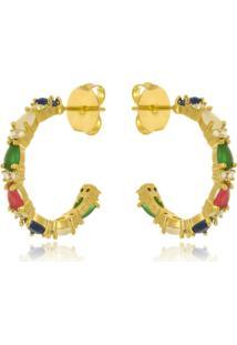 Brinco Argola Com Gotas Multi Color Di Capri Semi Jóias X Ouro Dourado
