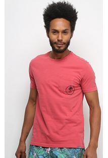 Camiseta T-Shirt Jab Bolso Manga Curta Masculina - Masculino-Pink