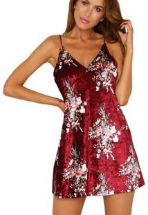 Vestido De Veludo Estampa Floral