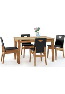 Mesa De Jantar 4 Cadeiras Tucupi 120Cm - Acabamento Nozes E Laca Preto