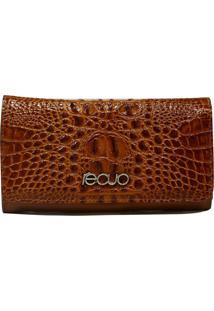 Carteira Em Couro Recuo Fashion Bag Croco Pinhão