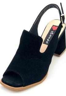 Sandália Salto Love Shoes Bloco Ankle Boot Fechado Quadrado Preto