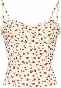 Reformation Blusa Finch Cropped Com Estampa Floral - Branco