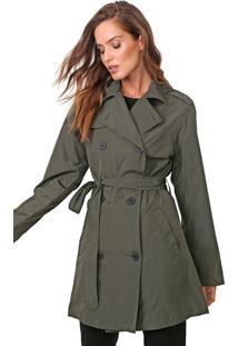 Casaco Trench Coat Ellus Nylon Wrinckle Verde - Verde - Feminino - Dafiti