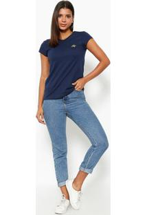 Camiseta Com Logo Da Marca- Azul Marinho & Douradaclub Polo Collection
