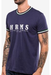 Camiseta Hrms Azul Gola Listrada 103741