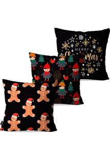 Kit Com 3 Capas Para Almofadas Pump Up Decorativas Natalinas Biscoitos De Natal E Crianças 45X45Cm
