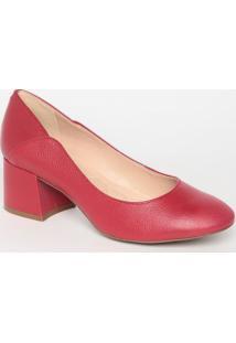 Sapato Tradicional Liso Em Couro- Vermelho- Salto: 6Loucos E Santos