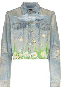 Amiri Printed Dove Trucker Denim Jacket - Azul