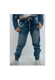 Calça Jogger Jeans K2 Fashion Top Ii Feminino Azul