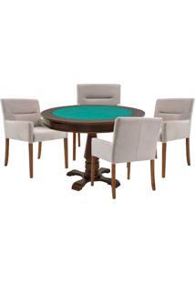 Mesa De Jogos Carteado Victoria Redonda Tampo Reversível Imbuia Com 4 Cadeiras Vicenza Nude - Gran Belo