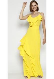 Vestido Longo Texturizado Com Babados & Fenda- Amarelo