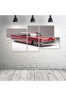 Quadro Decorativo - 1956-Ford-Victoria-Cars-Classic-Red - Composto De 5 Quadros - Multicolorido - Dafiti
