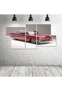 Quadro Decorativo - 1956-Ford-Victoria-Cars-Classic-Red - Composto De 5 Quadros